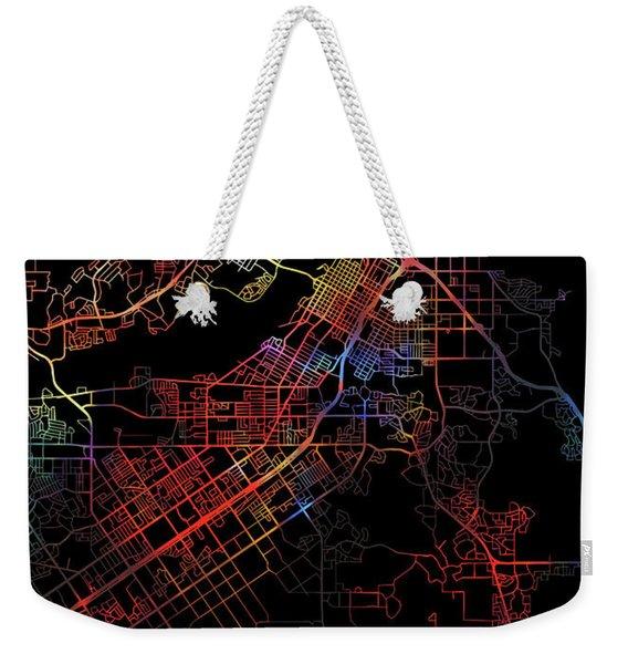 Riverside California Watercolor City Street Map Dark Mode Weekender Tote Bag