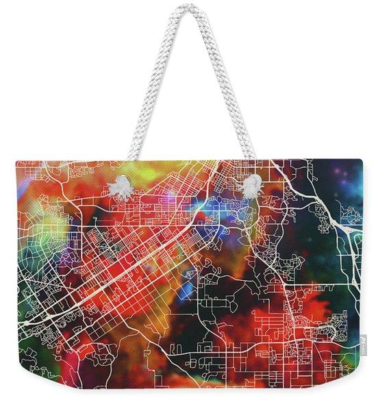 Riverside California Watercolor City Street Map Weekender Tote Bag