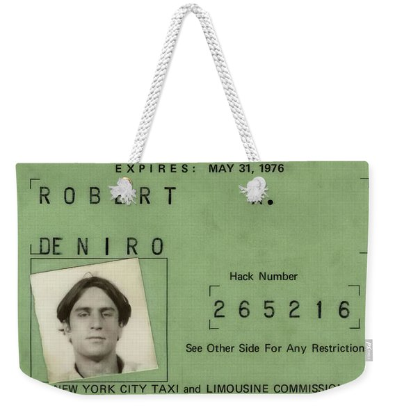 Robert De Niro's New York City Taxi Driver License 1976 Weekender Tote Bag