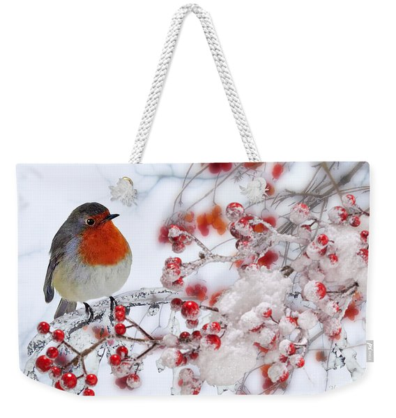 Robin And Berries Weekender Tote Bag