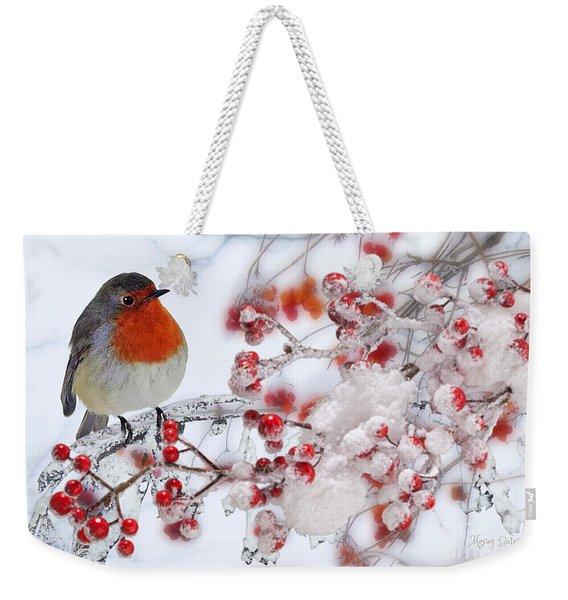 Robin And Berries Weekender Tote Bag