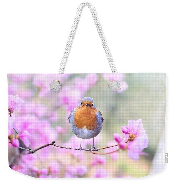 Robin On Pink Flowers Weekender Tote Bag