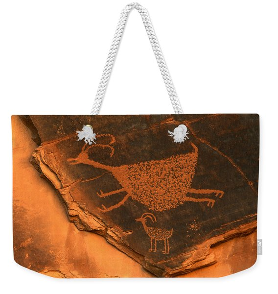 Rock Art At Eye Of The Sun Arch Weekender Tote Bag