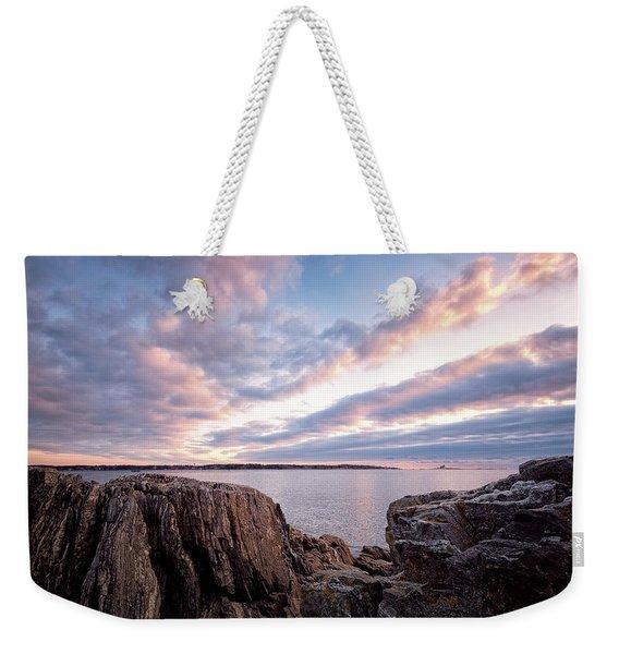 Rocky Coast At Daybreak . Weekender Tote Bag