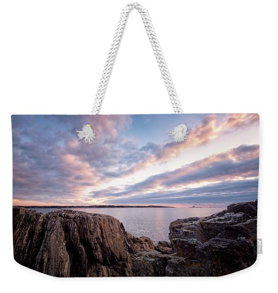 Weekender Tote Bag featuring the photograph Rocky Coast At Daybreak . by Jeff Sinon