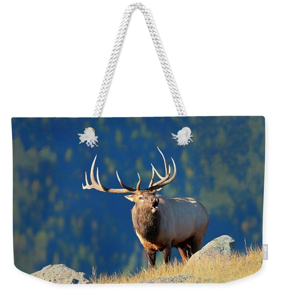 Rocky Mountain Bull Elk Bugling Weekender Tote Bag