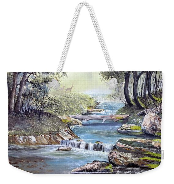 Weekender Tote Bag featuring the painting Rocky Stream by Deleas Kilgore