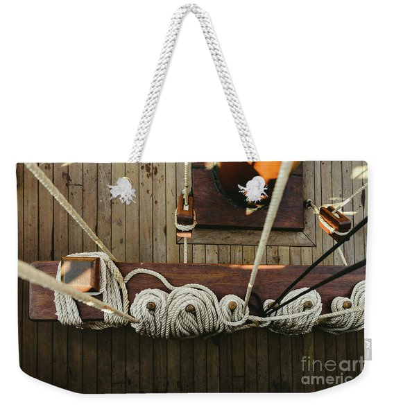 Ropes To Hold The Sails Of An Old Sailboat Rolled. Weekender Tote Bag