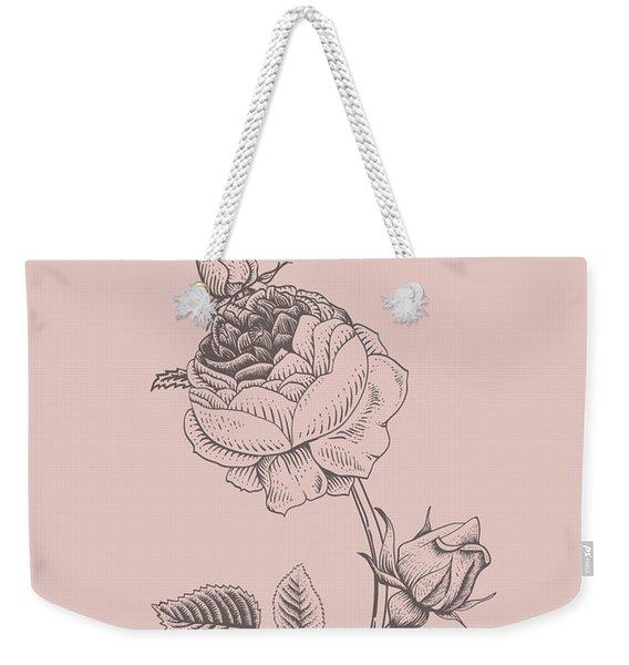 Rose Blush Pink Flower Weekender Tote Bag