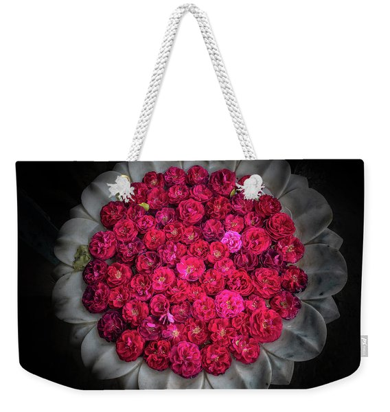 Weekender Tote Bag featuring the photograph Rose Bowl by Robin Zygelman