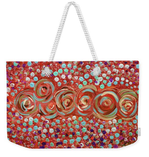 Roses Of Coral And Turquoise Weekender Tote Bag