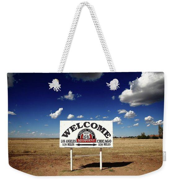 Route 66 - Midpoint Sign 2010 Bw Weekender Tote Bag