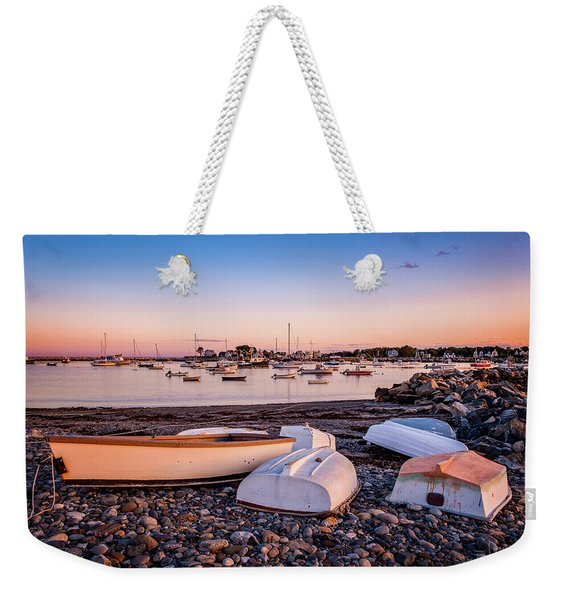 Weekender Tote Bag featuring the photograph Rowboats At Rye Harbor, Sunset by Jeff Sinon