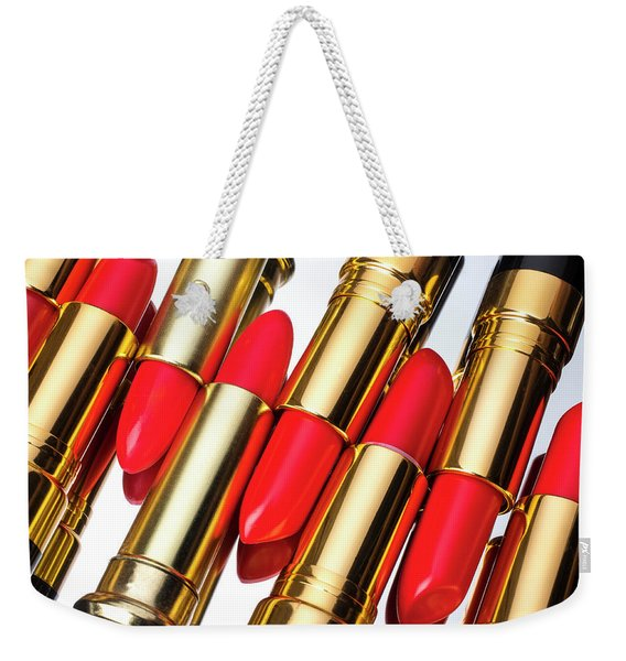 Rows Of Red Lipstick Weekender Tote Bag