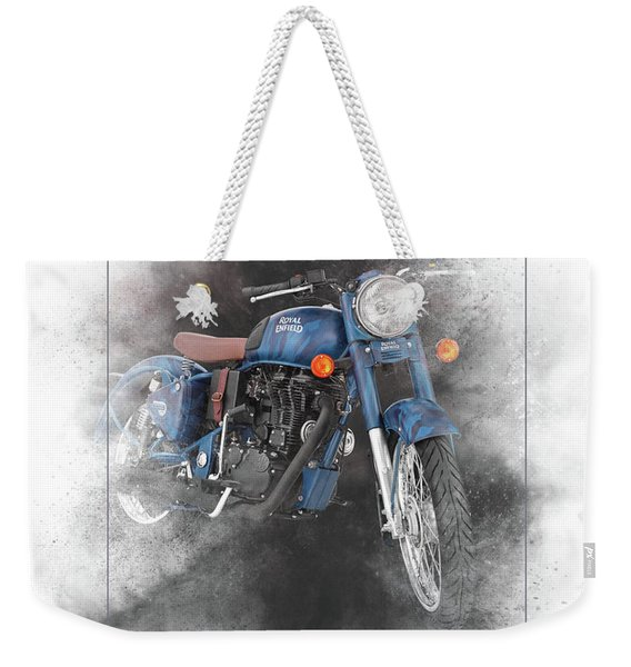 Royal Enfield Classic 500 Squadron Blue Painting Weekender Tote Bag