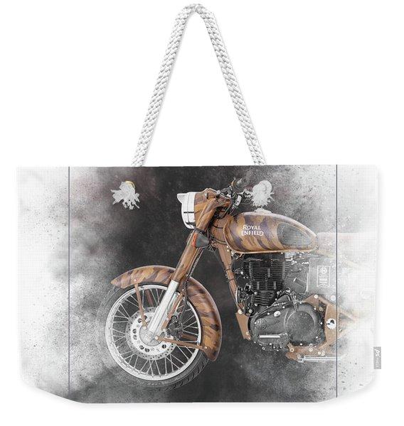 Royal Enfield Classic Desert Storm Painting Weekender Tote Bag