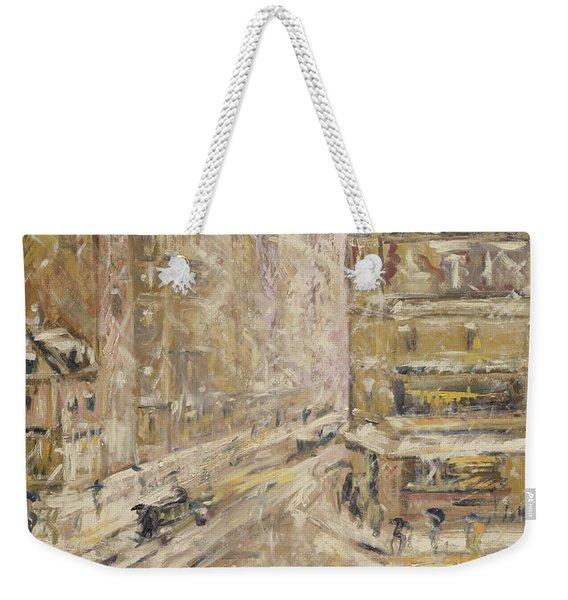 Rue De Clignancourt Under Snow, 1924 Weekender Tote Bag