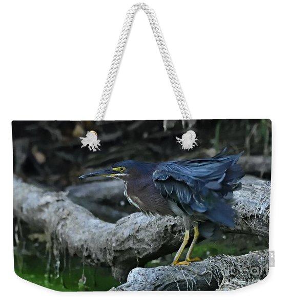 Ruffled Green Heron Weekender Tote Bag