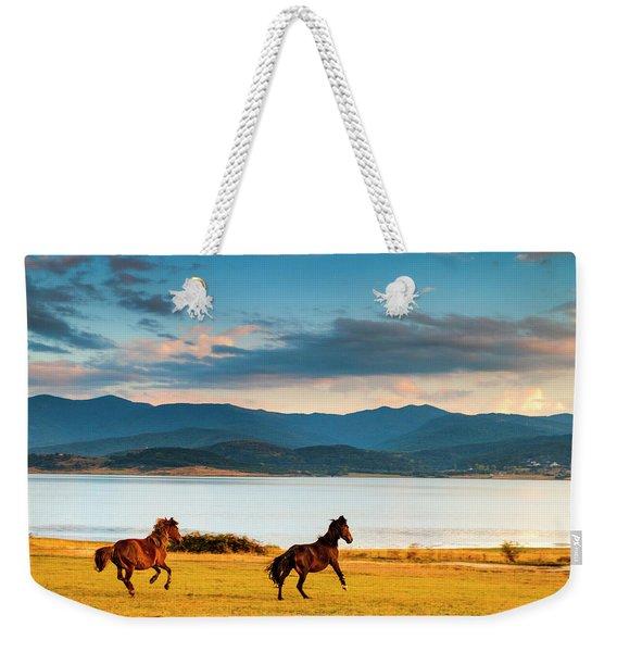 Running Horses Weekender Tote Bag