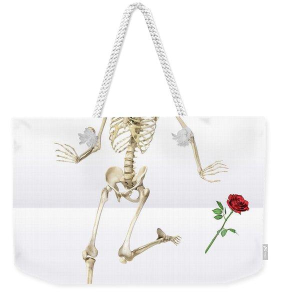 Running Rose Skeleton Weekender Tote Bag
