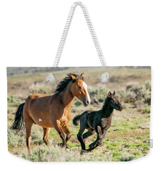Running Wild Mustangs - Mom And Baby Weekender Tote Bag