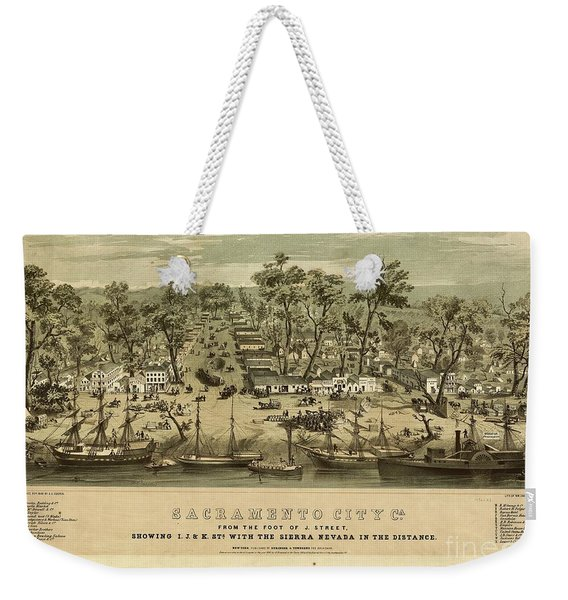 Sacramento City, California With The Sierra Nevada In The Distance  Weekender Tote Bag