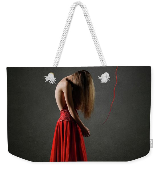 Sad Woman In Red Weekender Tote Bag