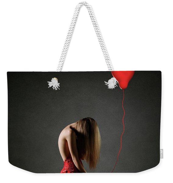 Sad Woman In Red Weekender Tote Bag