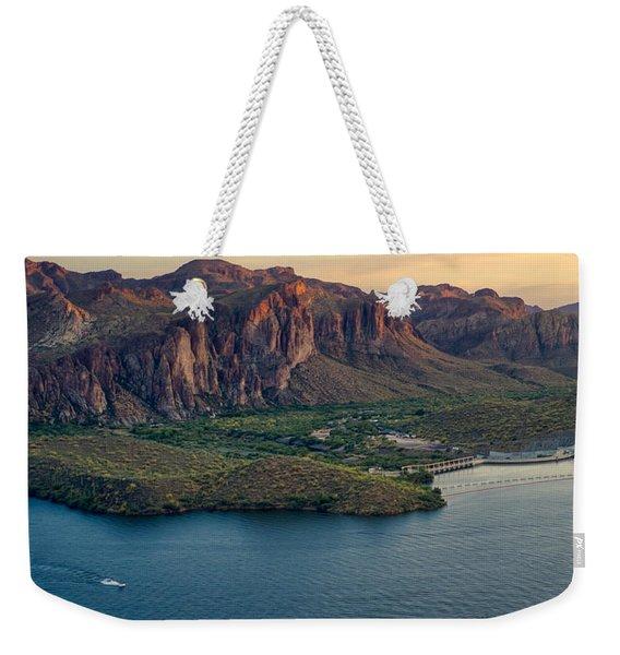 Saguaro Lake Mountain Sunset Weekender Tote Bag