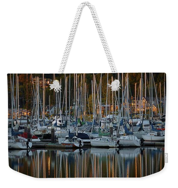 Weekender Tote Bag featuring the photograph Sailboat Reflections by Patricia Strand