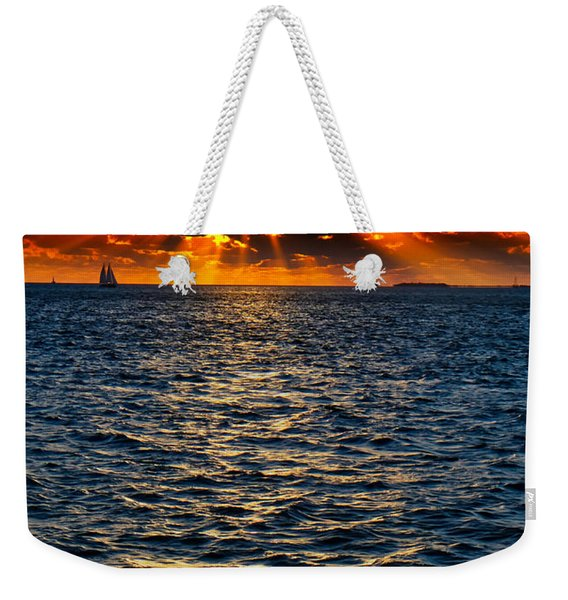 Sailboat Sunburst Weekender Tote Bag