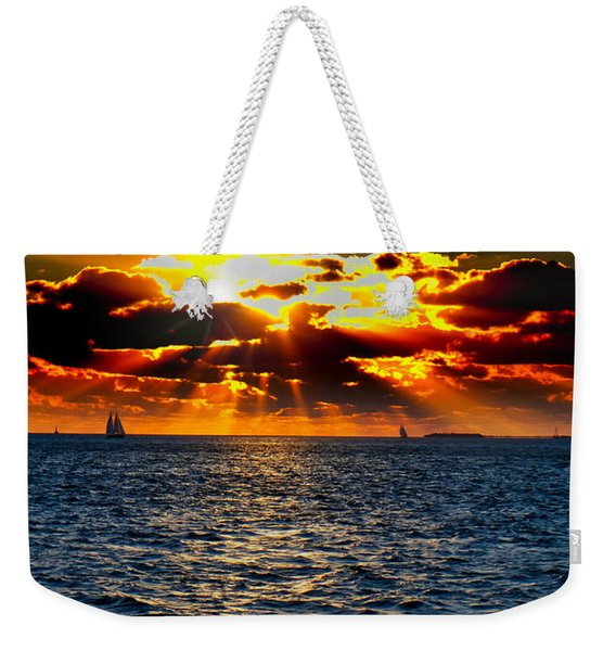 Sailboat Sunburst Weekender Tote Bag