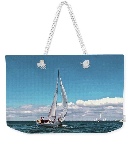 Sailing Regatta On A Brisk Summer's Day Weekender Tote Bag