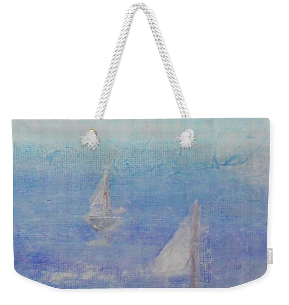 Weekender Tote Bag featuring the painting Sailing Subtly by Kim Nelson