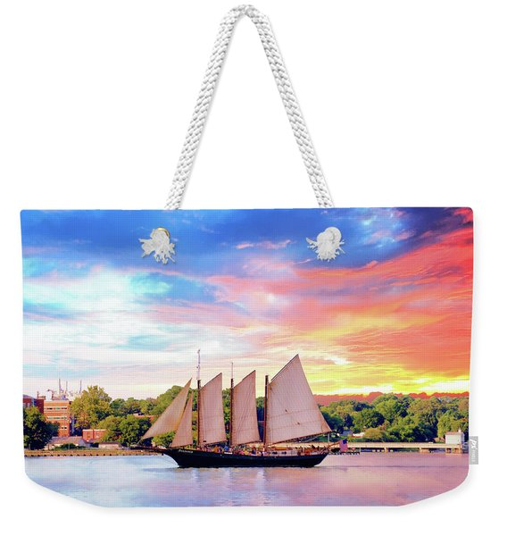 Sails In The Wind At Sunset On The York River Weekender Tote Bag