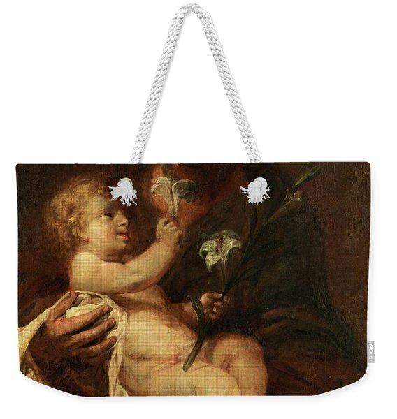 Saint Joseph With The Infant Saviour Weekender Tote Bag
