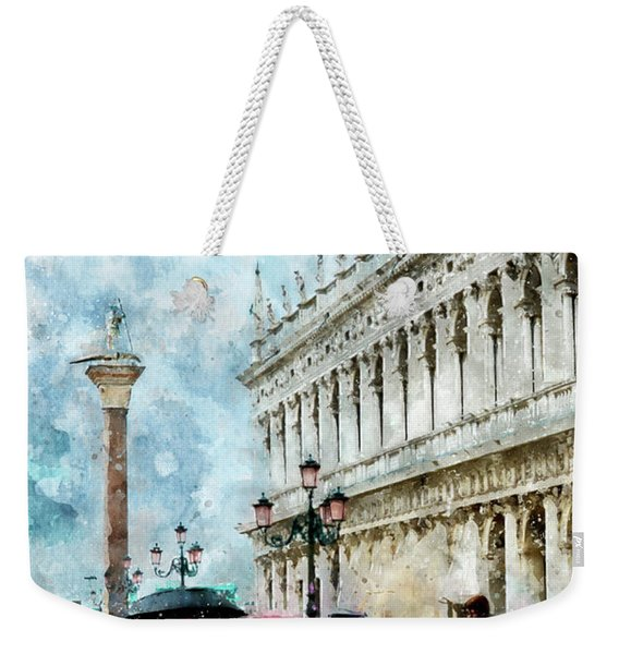 Saint Theodore Sculpture At Saint Mark Square In Venice, Italy - Watercolor Effect Weekender Tote Bag