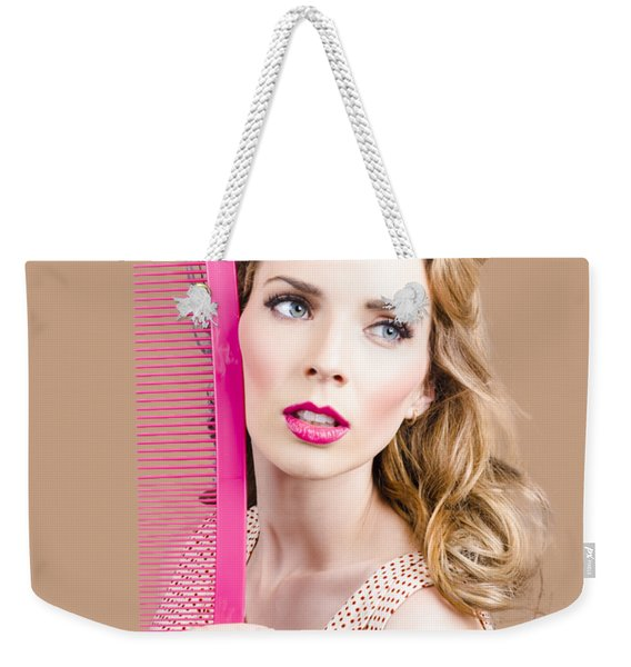 Salon Pin Up Woman With Elegant Hair Style Weekender Tote Bag