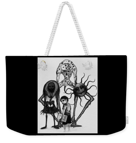 Weekender Tote Bag featuring the drawing Sammy And Friends - Artwork by Ryan Nieves