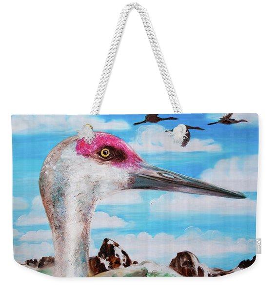 Sandhill Crane Teton View Weekender Tote Bag