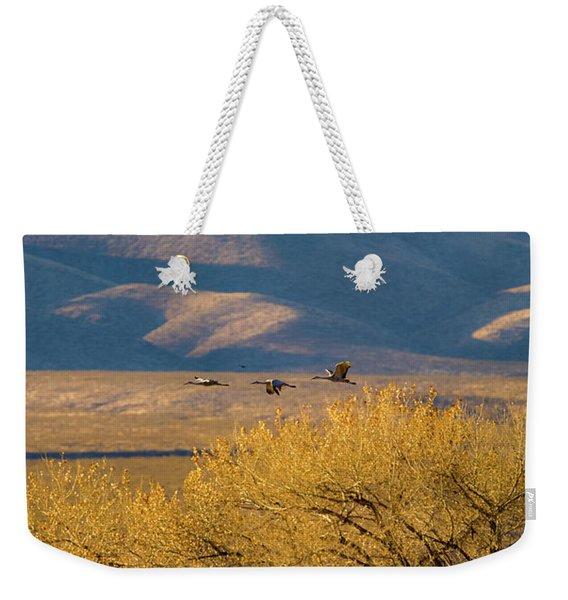Sandhill Cranes Near The Bosque Weekender Tote Bag