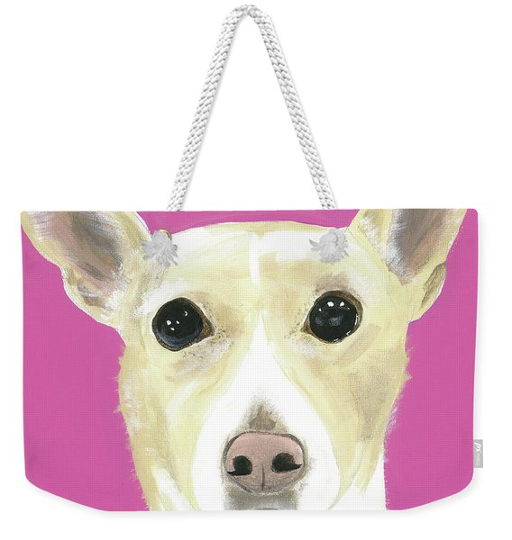 Weekender Tote Bag featuring the painting Sandy's Lulu by Suzy Mandel-Canter