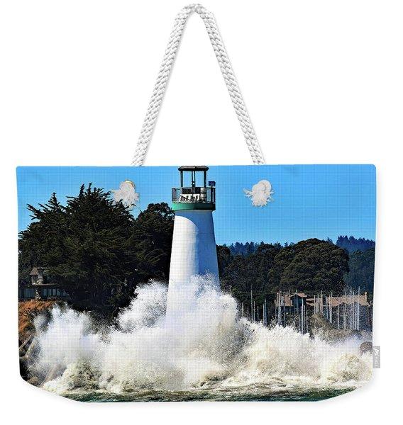 Santa Cruz Lighthouse And Crashing Waves Weekender Tote Bag
