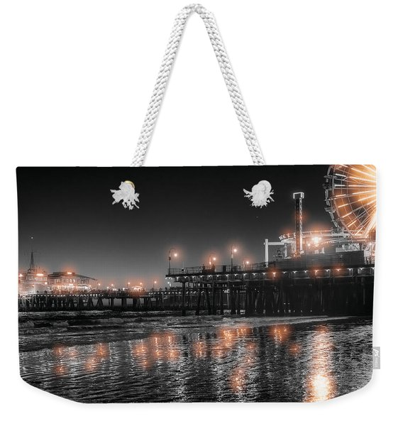 Weekender Tote Bag featuring the photograph Santa Monica Glow By Mike-hope by Michael Hope