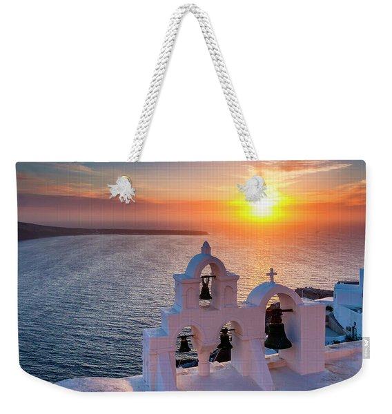 Santorini Sunset Weekender Tote Bag