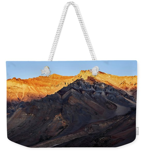 Weekender Tote Bag featuring the photograph Sarchu Sunrise by Whitney Goodey