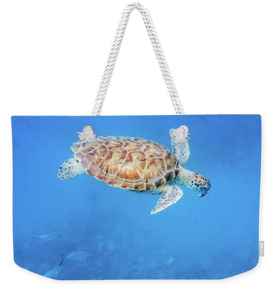 Sea Turtle And Fish Swimming Weekender Tote Bag
