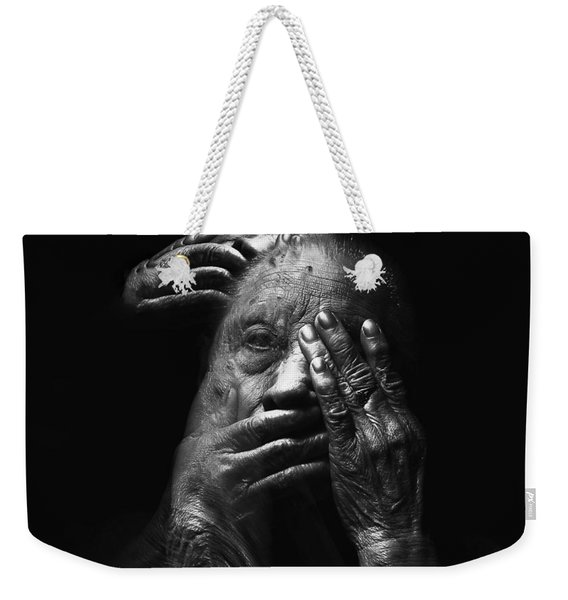 Weekender Tote Bag featuring the digital art See No Evil Hear No Evil Speak No Evil by ISAW Company