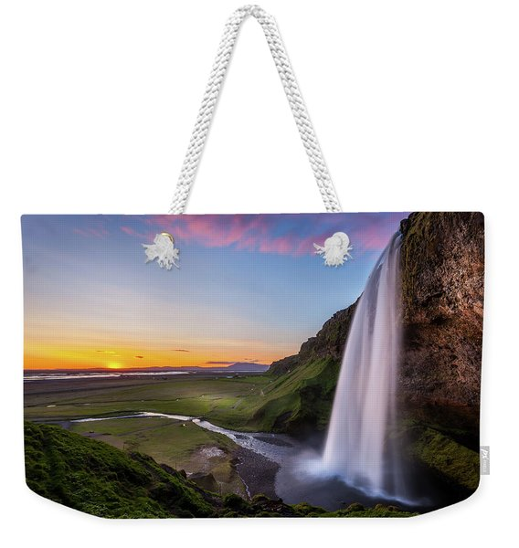 Seljalandsfoss At Sunset Weekender Tote Bag