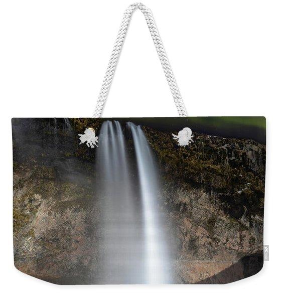 Seljalandsfoss Northern Lights Silhouette Weekender Tote Bag
